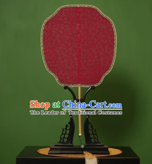 Traditional Chinese Crafts Jacquard Weave Red Lace Palace Fan, China Handmade Princess Palm-Leaf Fans for Women