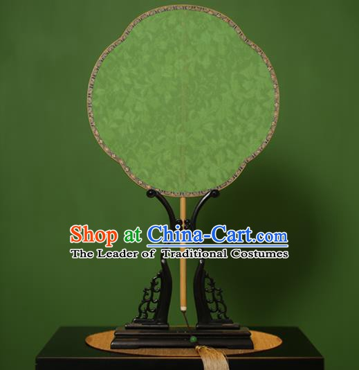 Traditional Chinese Crafts Green Jacquard Weave Lace Palace Fan, China Handmade Princess Palm-Leaf Fans for Women