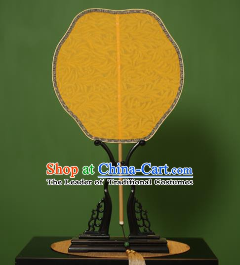 Traditional Chinese Crafts Yellow Jacquard Weave Lace Palace Fan, China Handmade Princess Palm-Leaf Fans for Women