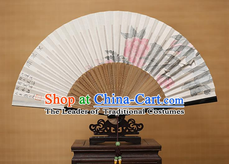 Traditional Chinese Crafts Classical Paper Folding Fan, China Handmade Painting Peony Fans for Women
