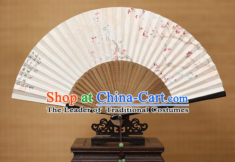 Traditional Chinese Crafts Classical Paper Folding Fan, China Handmade Painting Plum Blossom Fans for Women