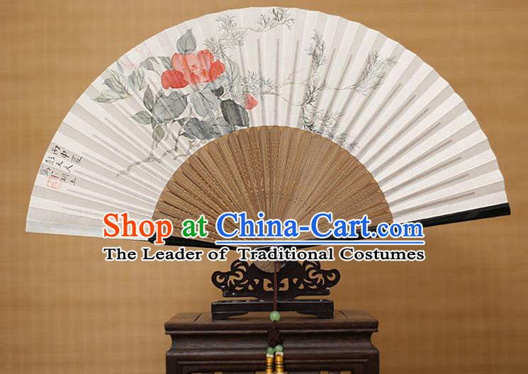 Traditional Chinese Crafts Classical Paper Folding Fan, China Handmade Painting Camellia Flower Fans for Women
