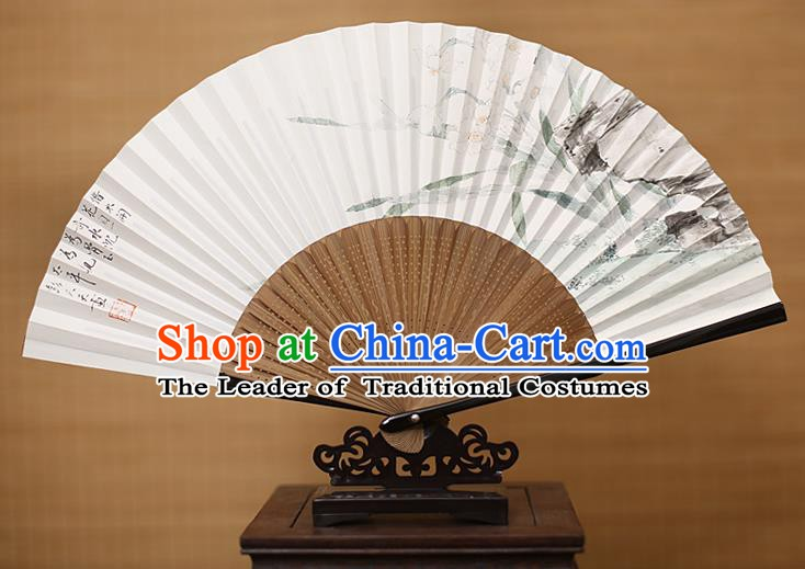 Traditional Chinese Crafts Classical Paper Folding Fan, China Handmade Painting Daffodil Fans for Women