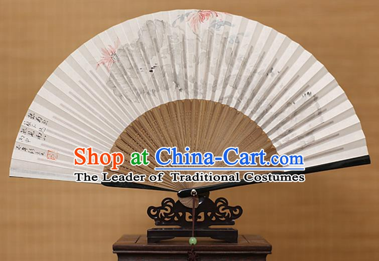 Traditional Chinese Crafts Classical Paper Folding Fan, China Handmade Painting Chrysanthemum Fans for Women