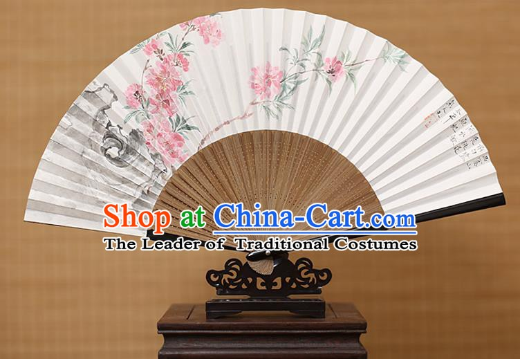 Traditional Chinese Crafts Classical Paper Folding Fan, China Handmade Painting Peach Blossom Fans for Women