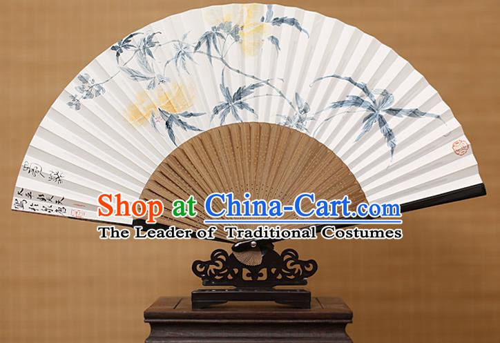 Traditional Chinese Crafts Classical Paper Folding Fan, China Handmade Painting Hollyhock Fans for Women