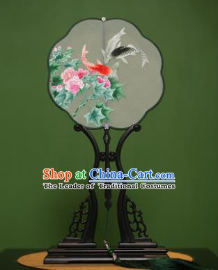 Traditional Chinese Crafts Suzhou Embroidery Flowers Fish Palace Fan, China Princess Embroidered Silk Fans for Women