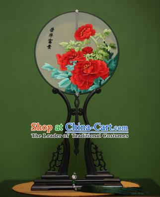 Traditional Chinese Crafts Suzhou Embroidery Red Peony Palace Fan, China Princess Embroidered Silk Round Fans for Women