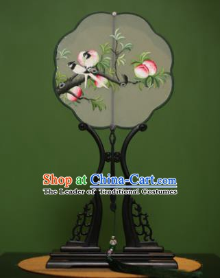 Traditional Chinese Crafts Suzhou Embroidery Peach Palace Fan, China Princess Embroidered Silk Fans for Women