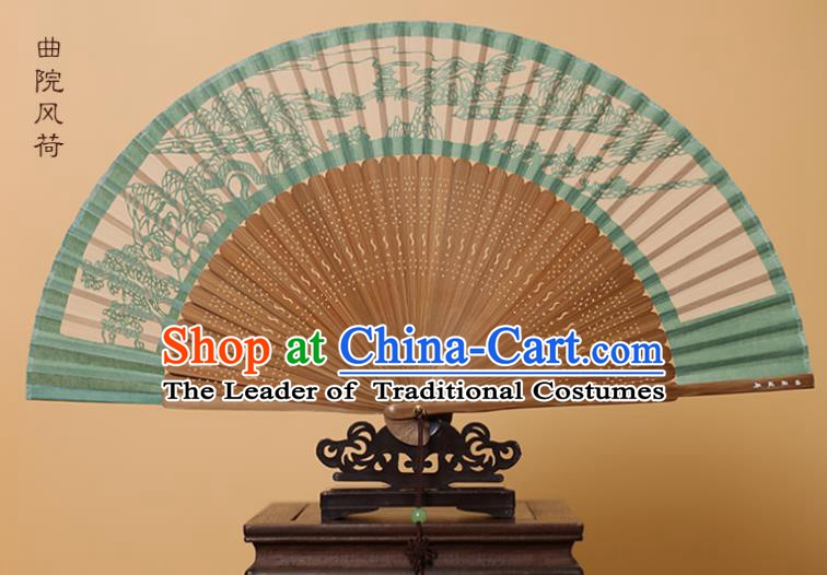 Traditional Chinese Crafts Landscape Scenery Folding Fan, China Handmade Scissor-Cut Green Silk Fans for Women