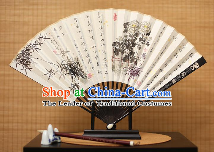 Traditional Chinese Crafts Collectables Autograph Xuan Paper Folding Fan, China Handmade Ink Painting Bamboo Chrysanthemum Fans for Men