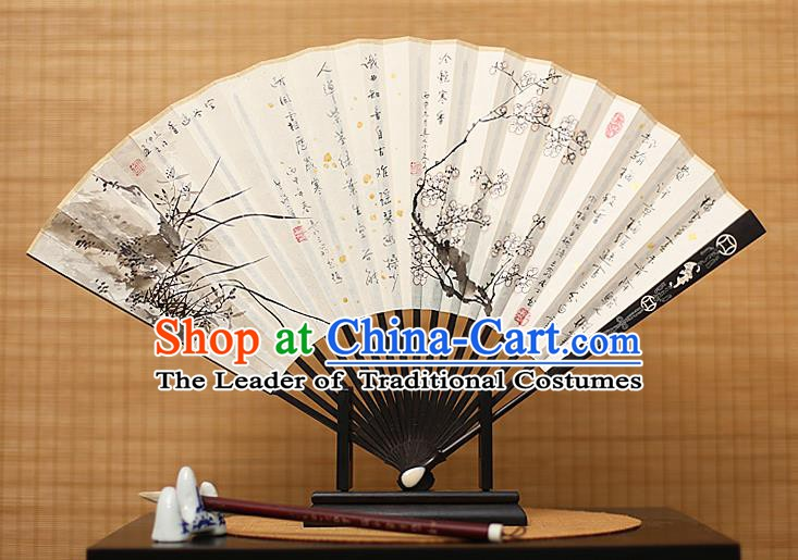 Traditional Chinese Crafts Collectables Autograph Xuan Paper Folding Fan, China Handmade Ink Painting Wintersweet Orchid Fans for Men
