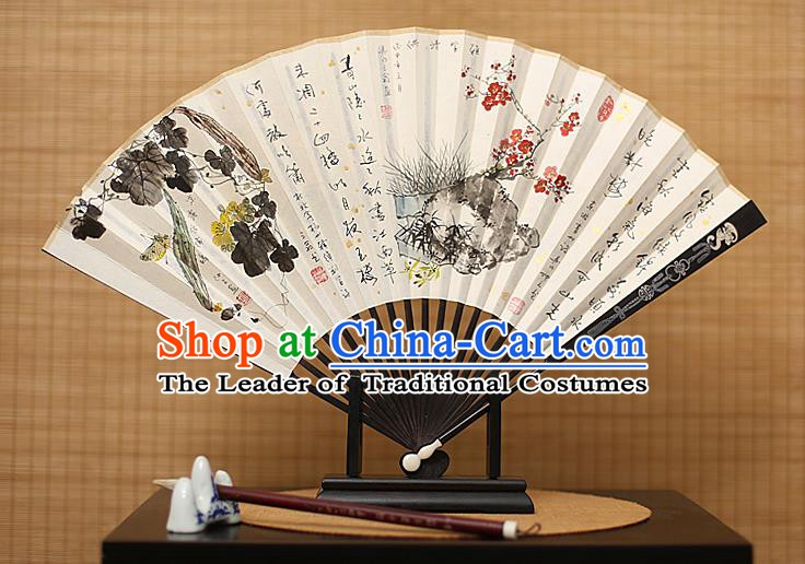 Traditional Chinese Crafts Collectables Autograph Xuan Paper Folding Fan, China Handmade Ink Painting Wintersweet Fans for Men