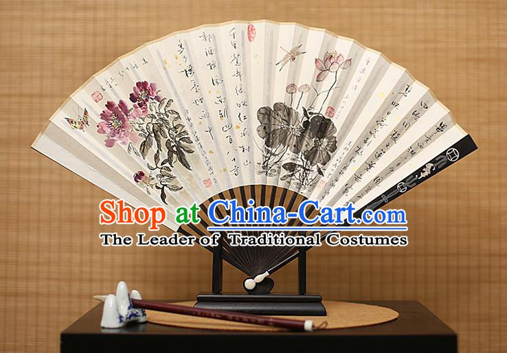 Traditional Chinese Crafts Collectables Autograph Xuan Paper Folding Fan, China Handmade Ink Painting Lotus Peony Fans for Men
