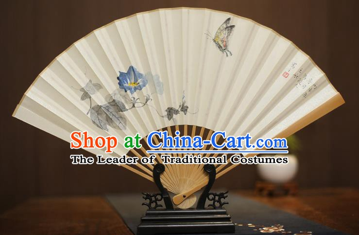 Traditional Chinese Crafts Collectables Autograph Xuan Paper Folding Fan, China Handmade Painting Petunia Butterfly Fans for Men