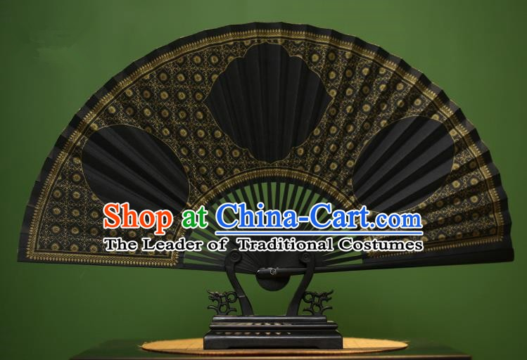 Traditional Chinese Crafts Black Paper Folding Fan, China Handmade Gold Stamping Fans for Men