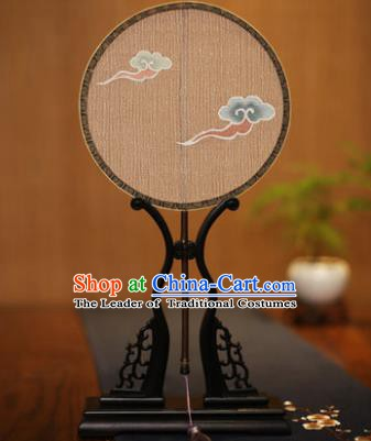 Traditional Chinese Crafts Tapestry Silk Palace Fan, China Printing Cloud Princess Silk Round Fans for Women