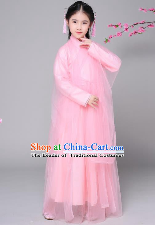 Traditional Chinese Ancient Princess Fairy Pink Dress Costume, China Han Dynasty Palace Lady Hanfu Clothing for Kids