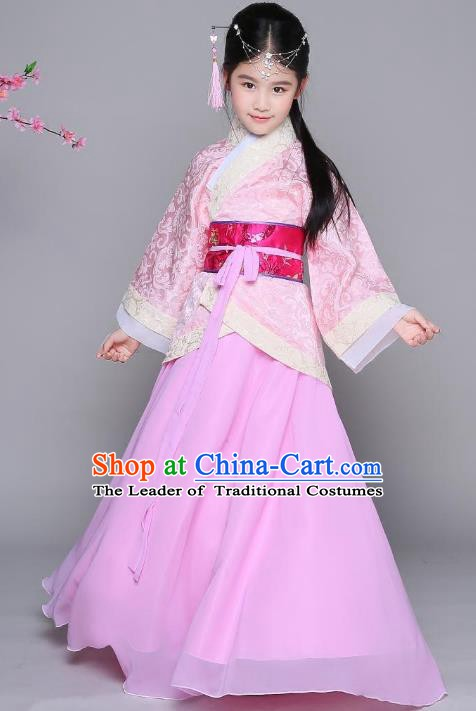 Traditional Chinese Han Dynasty Princess Costume, China Ancient Palace Lady Hanfu Curving-front Robe Clothing for Kids