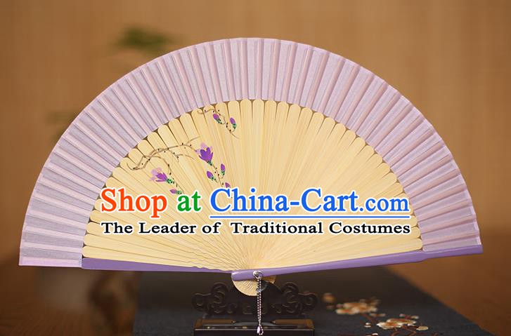 Traditional Chinese Crafts Printing Magnolia Classical Folding Fan, China Handmade Purple Silk Fans for Women