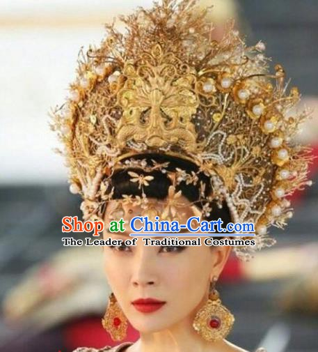 Chinese Ancient Queen Hair Accessories Xiuhe Suit Phoenix Coronet, China Bride Hairpins Headwear for Women