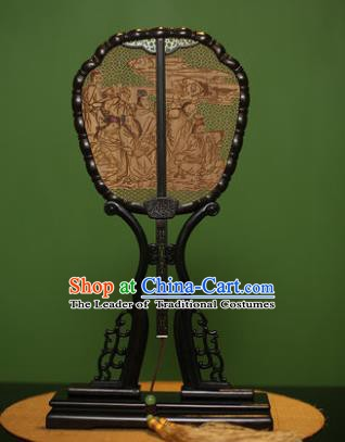 Traditional Chinese Crafts Sandalwood Carving Eight Immortals Palace Fan, China Princess Red Rosewood Fans for Women