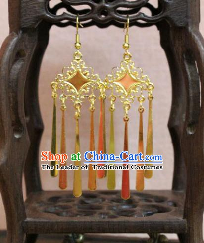 Traditional Chinese Handmade Jewelry Accessories Bride Golden Tassel Earrings Hanfu Eardrop for Women