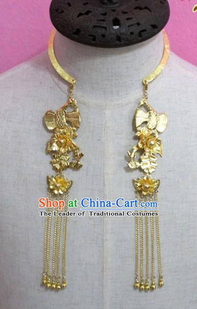 Traditional Chinese Handmade Jewelry Accessories Ancient Bride Necklace Hanfu Golden Butterfly Necklet for Women