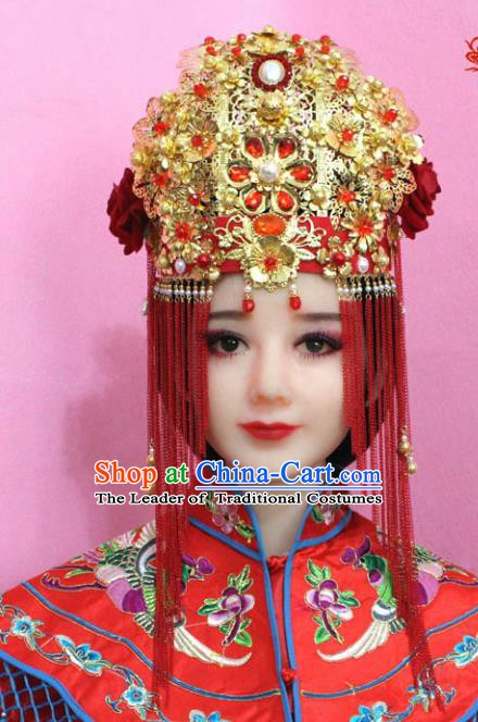 Traditional Chinese Handmade Hair Accessories Ancient Princess Hairpins Xiuhe Suit Phoenix Coronet Complete Set for Women