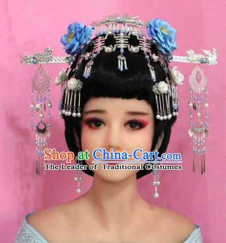Traditional Chinese Handmade Hair Accessories Ancient Princess Hairpins Tassel Step Shake Phoenix Coronet for Women