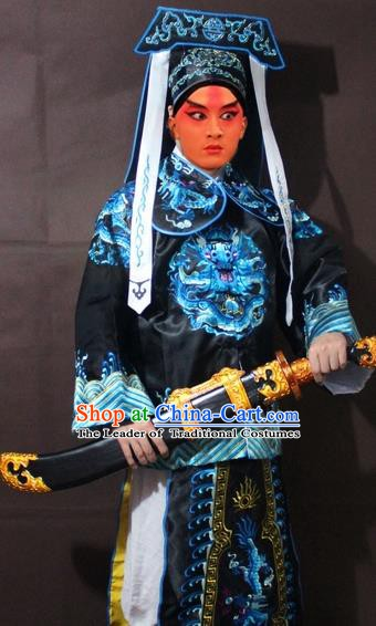 Traditional China Beijing Opera Takefu Costume, Chinese Peking Opera Imperial Bodyguard Embroidered Black Gwanbok