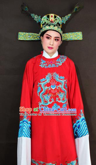 Traditional China Beijing Opera Lang Scholar Embroidered Costume, Chinese Peking Opera Niche Gwanbok Embroidered Robe