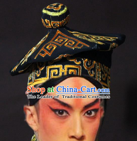 Traditional China Beijing Opera Takefu Black Hats, Chinese Peking Opera Imperial Bodyguard Embroidered Headwear