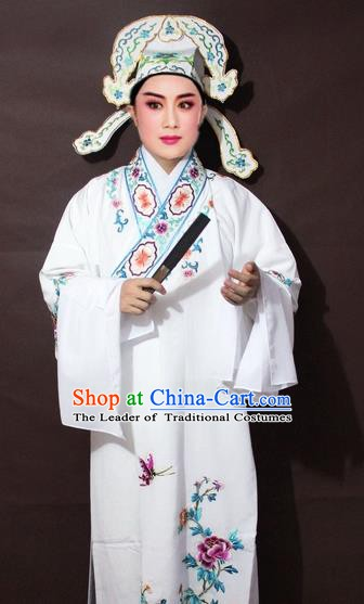 Traditional China Beijing Opera Niche Costume White Embroidered Robe, Chinese Peking Opera Gifted Scholar Clothing