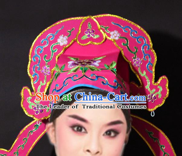 Traditional China Beijing Opera Niche Embroidered Rosy Hats, Chinese Peking Opera Gifted Scholar Headwear