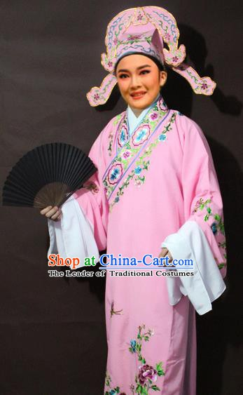 Traditional China Beijing Opera Niche Costume Pink Embroidered Robe, Chinese Peking Opera Gifted Scholar Clothing