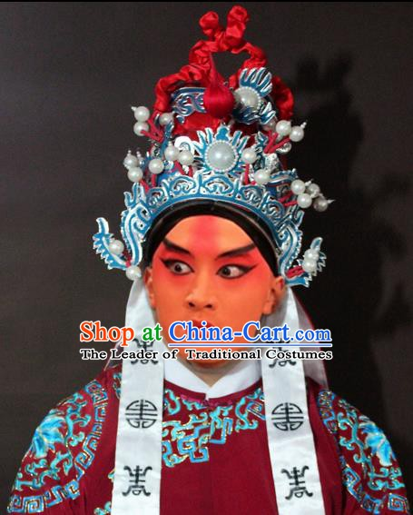 Traditional China Beijing Opera General Embroidered Hats, Chinese Peking Opera Officer Helmet Headwear