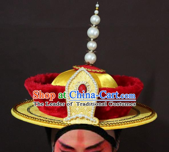 Traditional China Beijing Opera Emperor Hats, Chinese Peking Opera Qing Dynasty Majesty Headwear