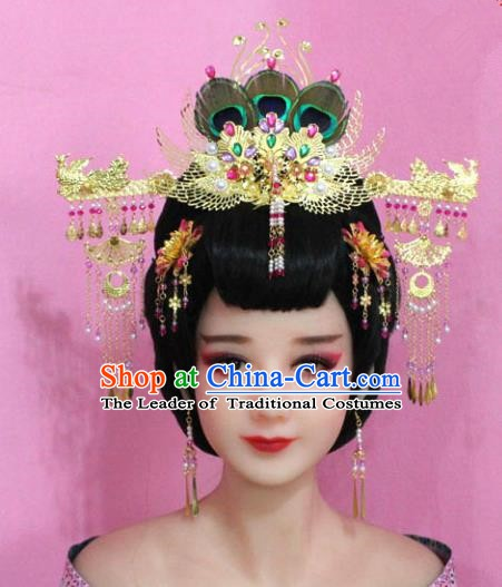 Traditional Chinese Handmade Hair Accessories Princess Hairpins Tassel Phoenix Coronet Complete Set for Women