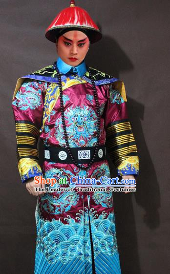 Traditional China Beijing Opera Costume Embroidered Robe, Chinese Peking Opera Qing Dynasty Royal Highness Clothing