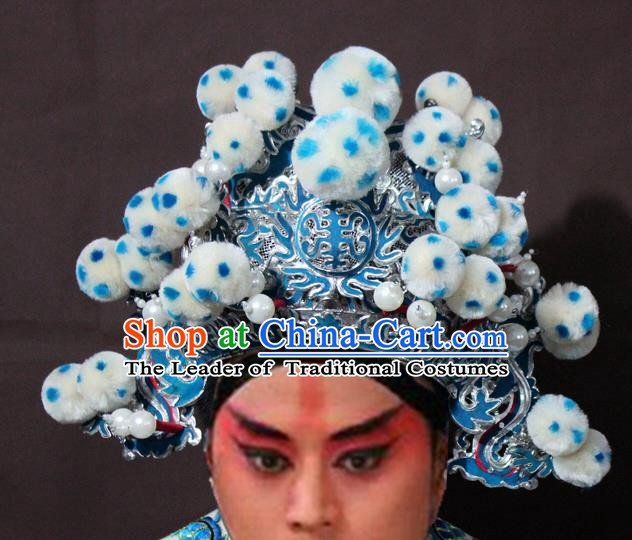 Traditional China Beijing Opera General Hats, Chinese Peking Opera Takefu Headwear