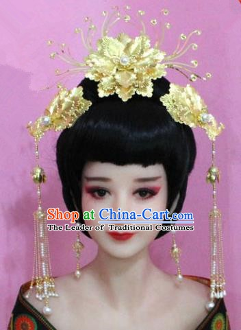 Traditional Chinese Handmade Hair Accessories Princess Hairpins Golden Phoenix Coronet Complete Set for Women