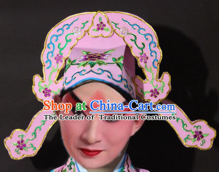 Traditional China Beijing Opera Niche Embroidery Pink Hats, Chinese Peking Opera Scholar Headwear