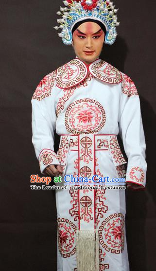 Traditional China Beijing Opera Takefu Embroidery White Costume, Chinese Peking Opera Soldiers Embroidered Clothing