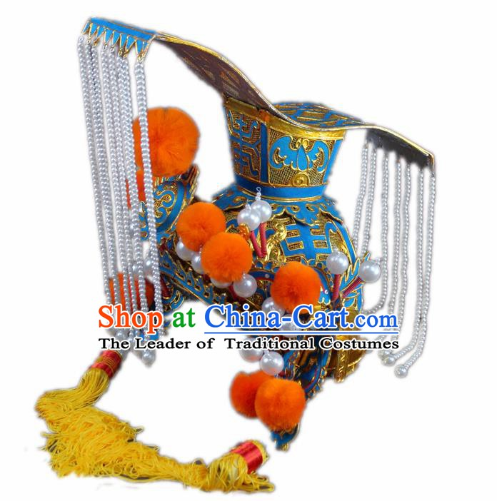 Traditional China Beijing Opera Emperor Hats, Chinese Peking Opera Royal Majesty Tassel Headwear