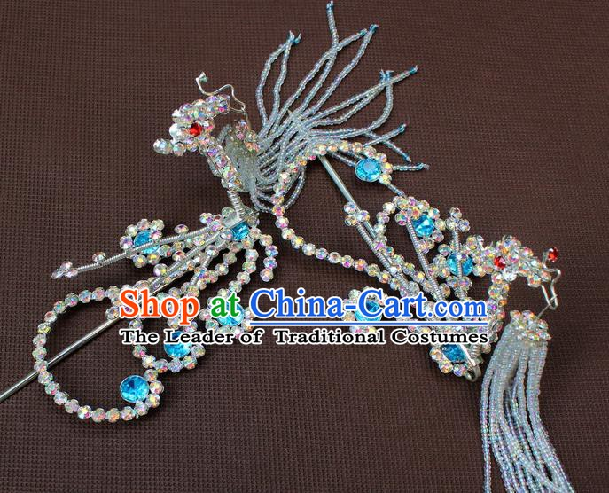 Traditional Chinese Handmade Hair Accessories Princess Hairpins Phoenix Tassel Step Shake for Women