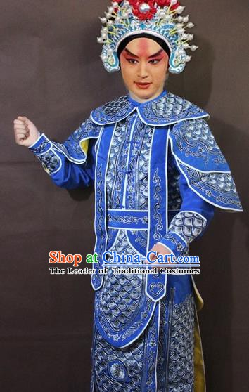 Traditional China Beijing Opera Takefu Embroidered Blue Costume, Chinese Peking Opera Warrior Clothing