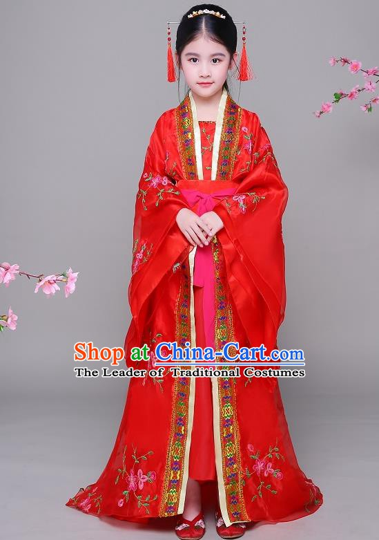 Traditional Chinese Ancient Children Imperial Consort Hanfu Embroidered Clothing, China Tang Dynasty Palace Lady Costume for Kids