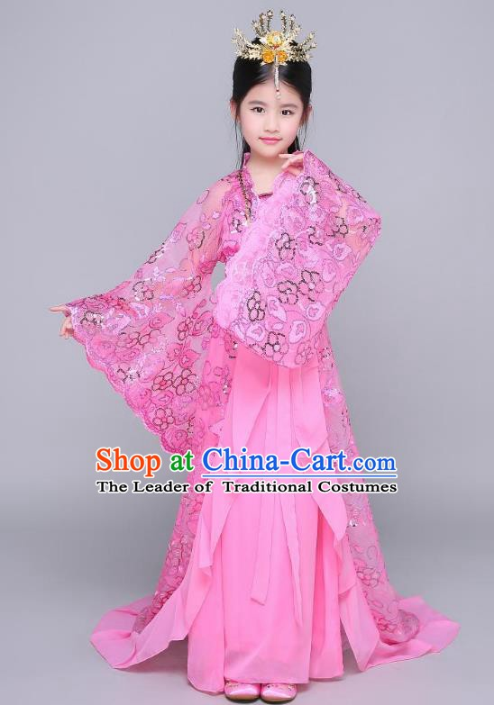 Traditional Chinese Ancient Children Peri Hanfu Clothing, China Tang Dynasty Palace Princess Costume Trailing Dress for Kids