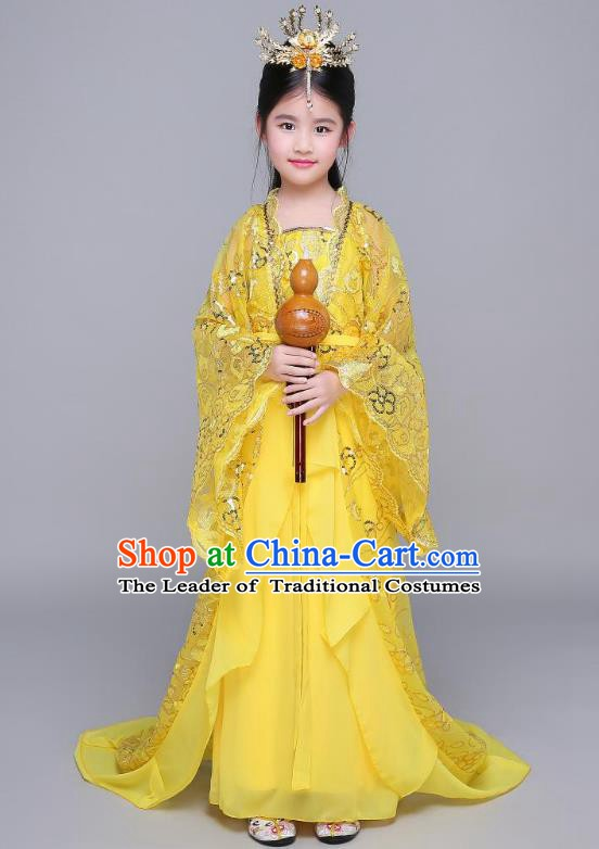 Traditional Chinese Tang Dynasty Palace Princess Hanfu Clothing, China Ancient Children Fairy Costume Trailing Dress for Kids